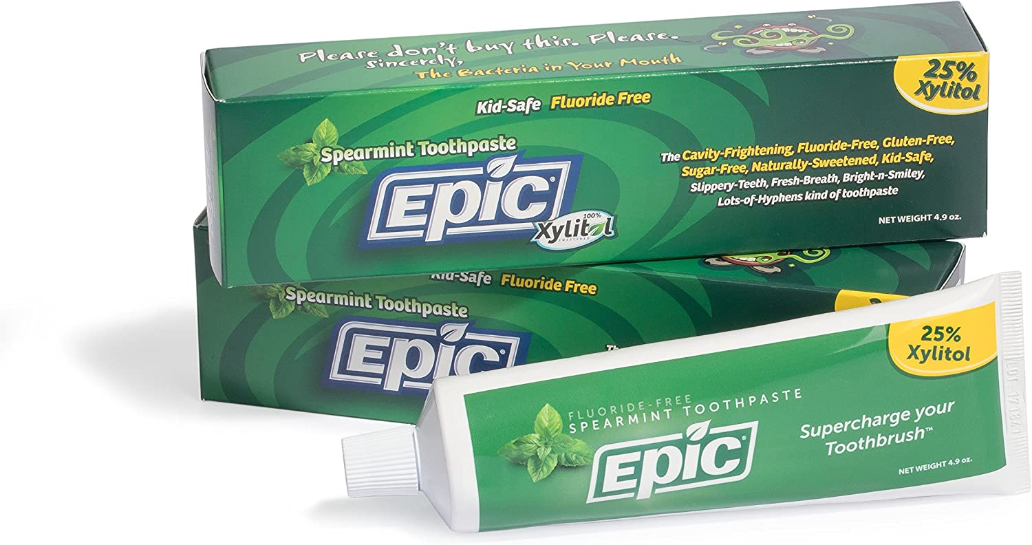 Epic Dental Fluoride Free Xylitol Toothpaste, Spearmint, 4.9 Oz Tube (Multi-Pack): Health & Personal Care