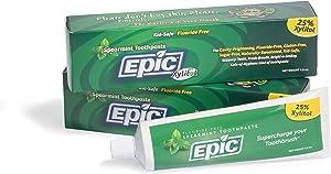 Epic Dental Fluoride Free Xylitol Toothpaste, Spearmint, 4.9 Oz Tube (Multi-Pack)