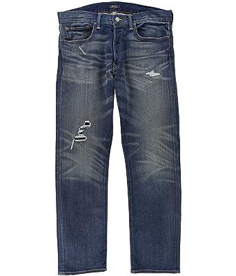 c5c2d935 RALPH LAUREN Polo Men's Varick Slim Straight Leg Stretch Distressed Jeans,  Mitchell at Amazon Men's Clothing store:
