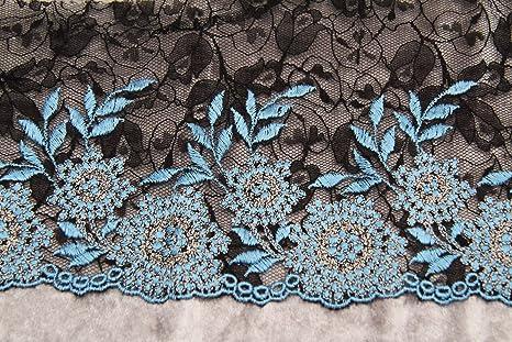Russo Tessuti 1mt Balza Tulle Merletto Pizzo Ricamato Fiori Azzurro Base  Nero 10 cm 99e59b16491