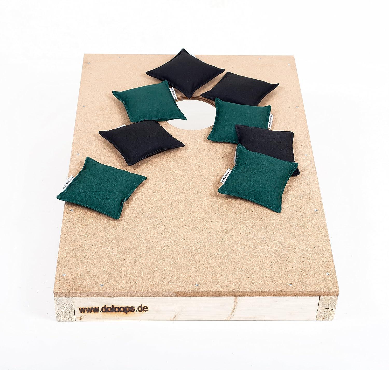 Original Cornhole Spielset - ein Cornhole Board und 8 Cornhole Bags (je 4 schwarze und 4 grüne Cornhole Bags), original deutscher Cornhole Verband Turnierausstattung
