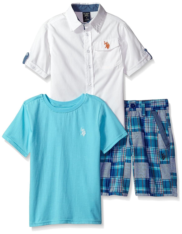 U.S. Polo Assn. Boys' Plaid Patchwork Short Woven Crew Neck T Shirt