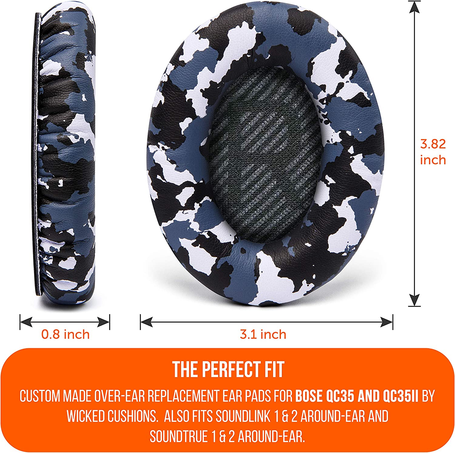 WC Premium Replacement Ear Pads for Bose QC35 /& QC35ii Headphones Made by Wicked Cushions Comfortable Adaptive Memory Foam Extra Durable Fits QuietComfort 35 /& 35ii // SoundLink 1/&2 AE