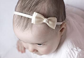 0dba41360374 Olivia Baby Bow Headband - Girls Headband - Olivia Satin Bow Handmade  Headband - Baby to