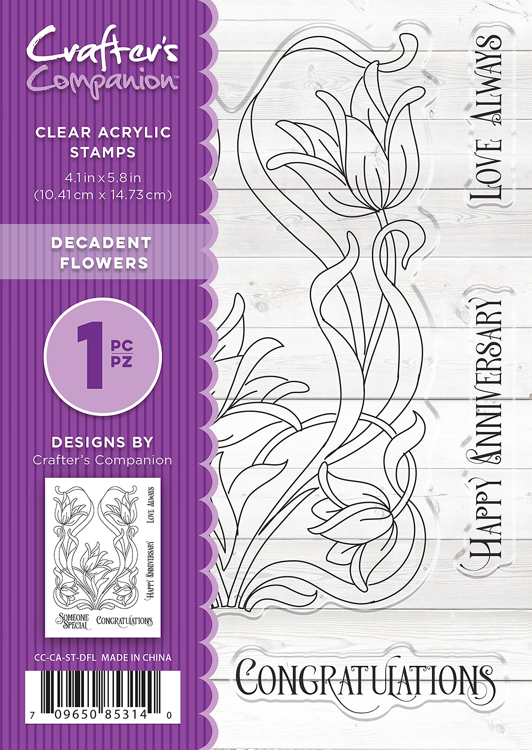 Crafter's Companion CC-CA-ST-DFL A6 Decadent Flowers Clear Stamp