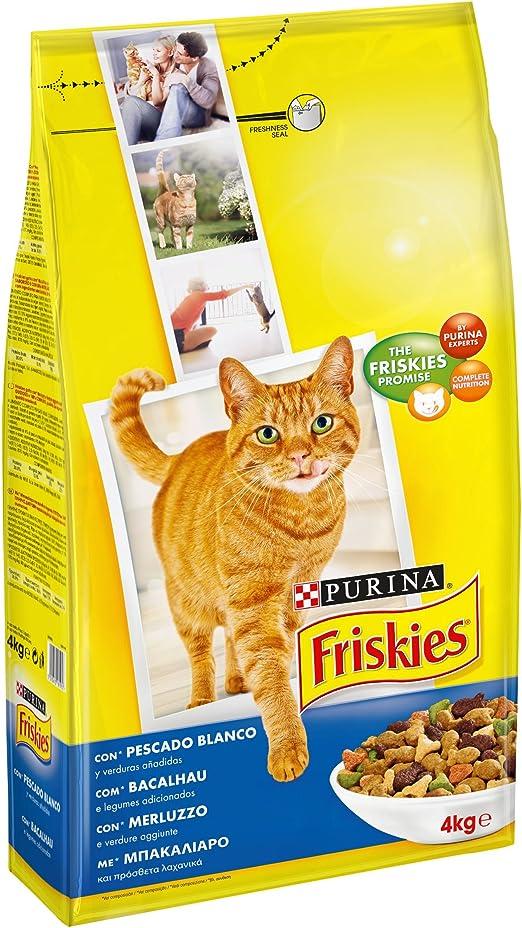 Friskies Purina Alimento Seco para Gato Adulto con Bacalao y Verduras Añadidas 4 kg: Amazon.es: Productos para mascotas