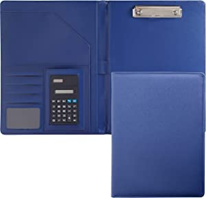 Business Leather Portfolio Folder, A4 PU Padfolio for Men & Women, Leather Notebook Portfolio Organizer for Office & School, Blue