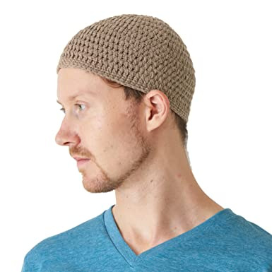 CHARM Cotton Skull Cap for Men - Crochet Kufi Hat Mens Beanie Prayer Hat  Knit Soft 68dc90652fe
