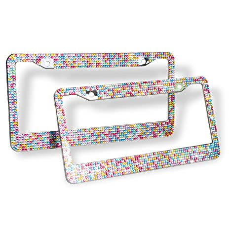 Amazon.com: Remtise Bling Bling License Plate Frames 2 Pack for Car ...