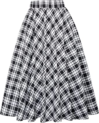Kate Kasin Womens A-Line Vintage Skirt Grid Pattern Plaid