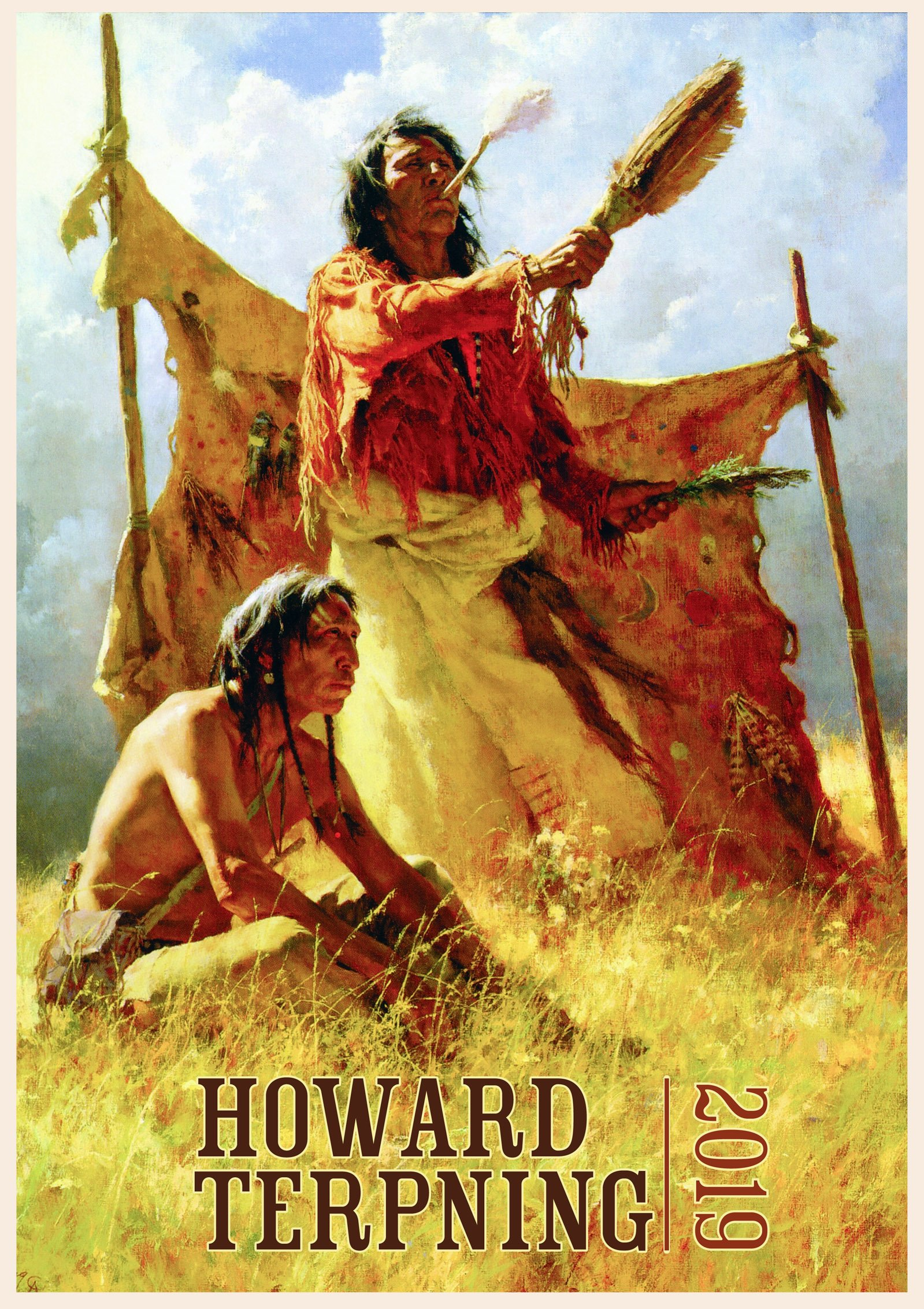 """Download Wall Calendar 2019 [12 pages 8""""x11""""] Native American Indian Wild West by Howard Terpning Vintage Art Poster pdf"""