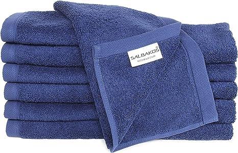 Amazon Com Luxury Hotel Spa Turkish Cotton 12 Piece Washcloth Set For Bath Navy Home Kitchen