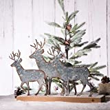 Glitzhome Christmas Table Decorations 12.81 Inches Metal Christmas Reindeer Decor Galvanized Deer Decoration for Home…