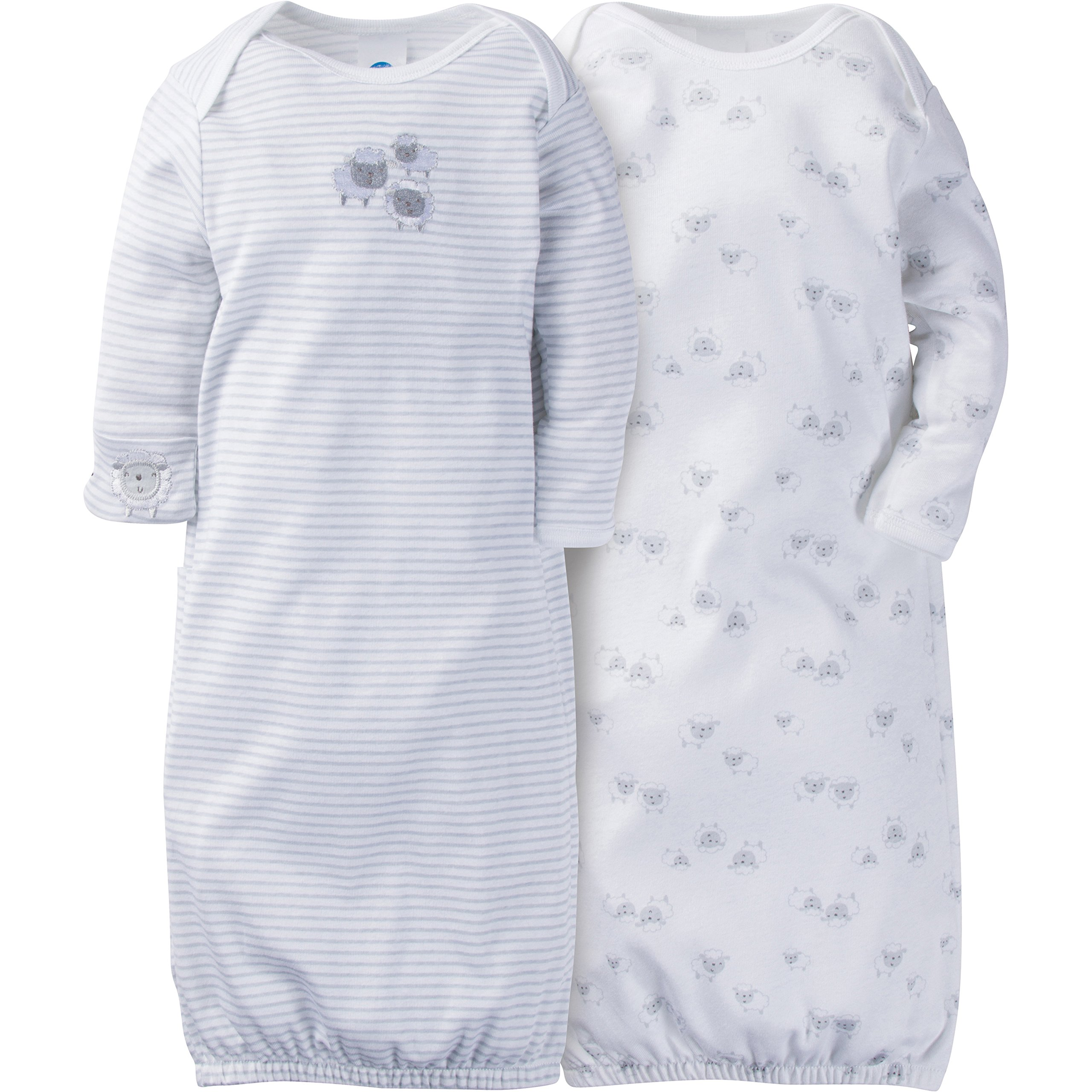 Gerber Baby Girls 2 Pack Gown, Lil' Lamb, 0-6 Months