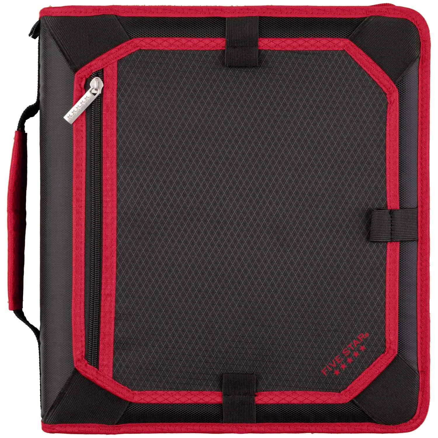 Five Star Zipper Binder, 2 Inch 3 Ring Binder, Expansion Panel, Durable, Black/Red/Gray (29052BE7) by Five Star