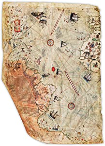 """Historical Ottoman Empire Map Reproduction - Surviving Fragment - Shows Central & South American Coast - Complied by Ottoman Admiral & Cartographer Piri Reis in 1513 - Made to Order - 24"""" x 36"""""""""""