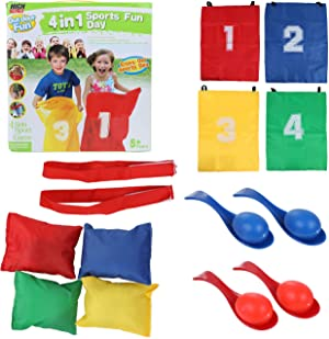 High Bounce 32 Piece Party Racing Activity Fun Set for Kids with Egg Race, Three Legged Race, Potato Sack Race and Bean Bag Toss Game for Indoor and Outdoor Use