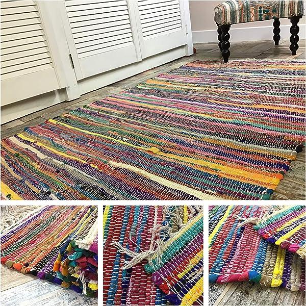Hermosa alfombra multicolor Chindi Rag, comercio justo de ...