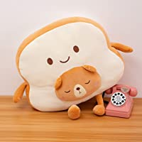 Stuffed animal toast bread plushie, adorable cushion pillow, cute home décor, fruit food toy collection Japanese cartoon…