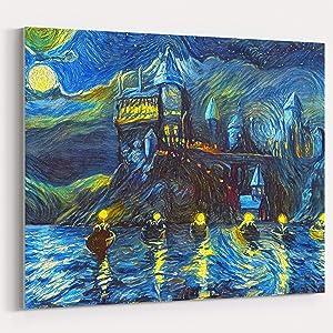 Westlake Art Starry Night Castle Night Boats Canvas Wall Art Print Van Gogh Magical Merchandise Modern Abstract Artwork for Home Room Decor - 16x20 inch Unframed