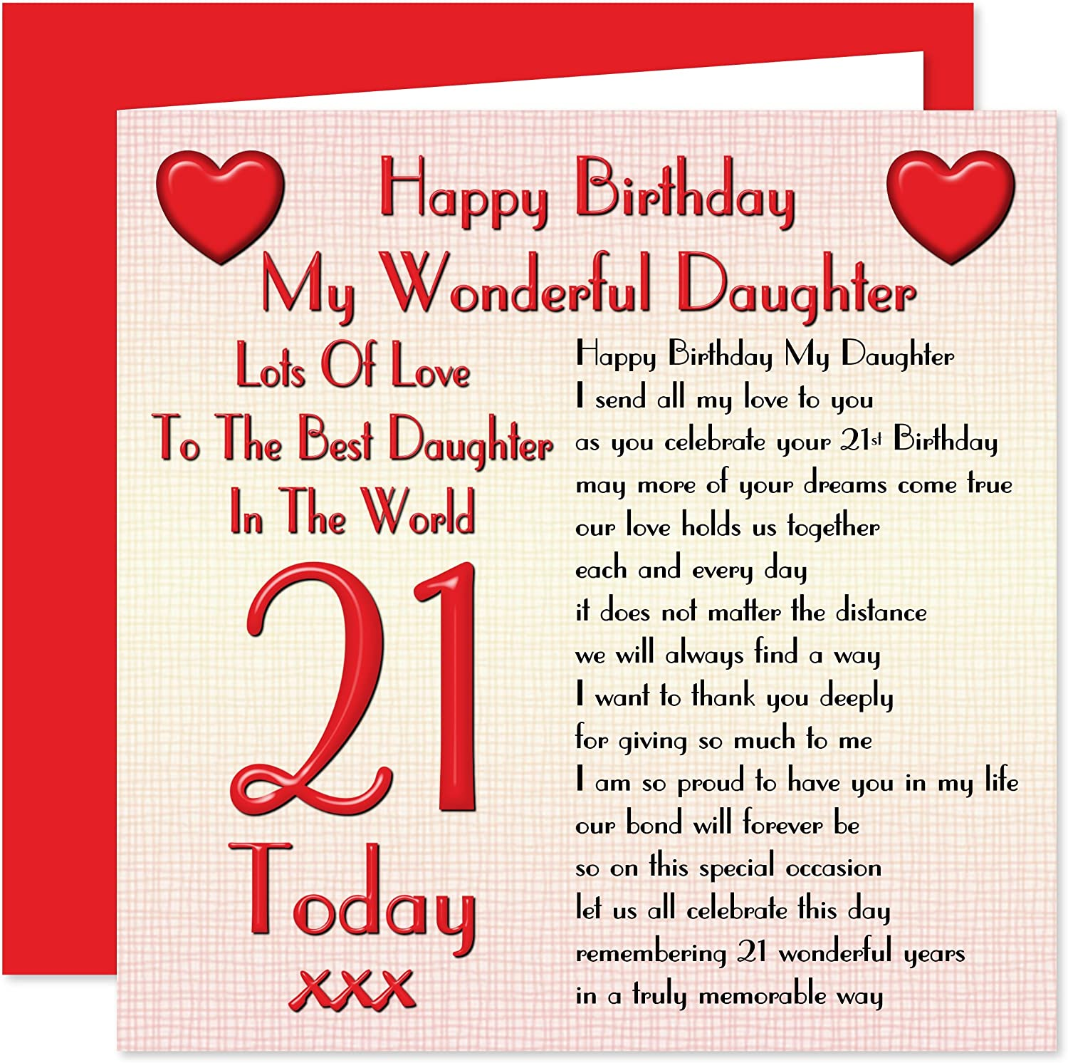 Daughter 21st Happy Birthday Card Lots Of Love To The Best Daughter In The World 21 Today Amazon Co Uk Office Products