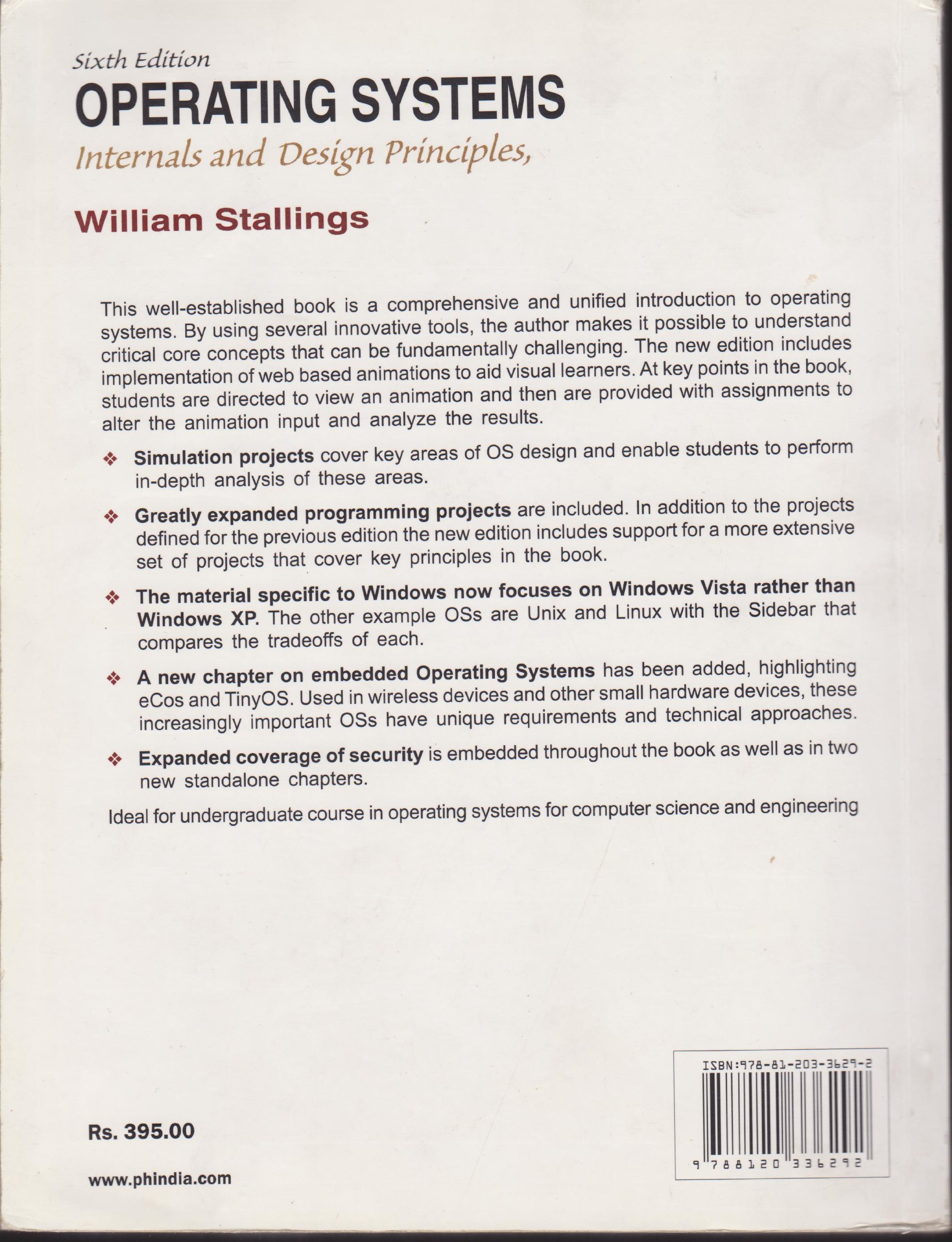 Operating Systems Internals And Design Principles 6th Edition Stallings 9788120336292 Amazon Com Books