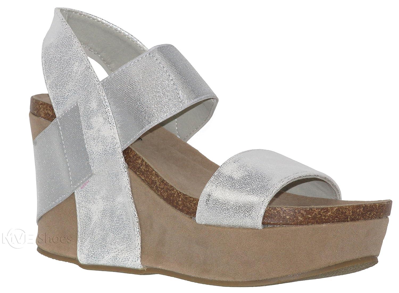 MVE Shoes Women's Back Buckle Strap Wedge - Open Toe Heeled Sandal - Faux Leather Fashion Platform B07CS3D7S5 11 B(M) US Silvert03*