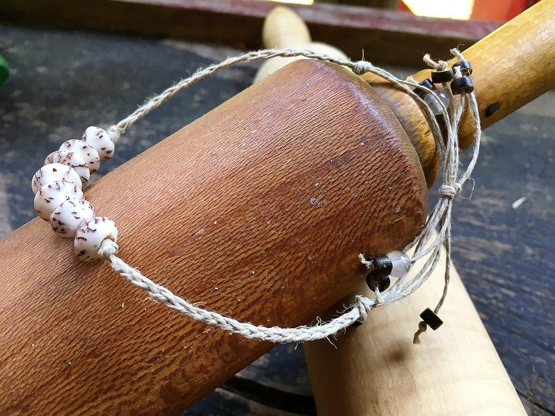 Quartz Bracelet Women Surfer Coconut Shell Men Handmade Boho Braided Hemp Wish Anklet-Betel Nut