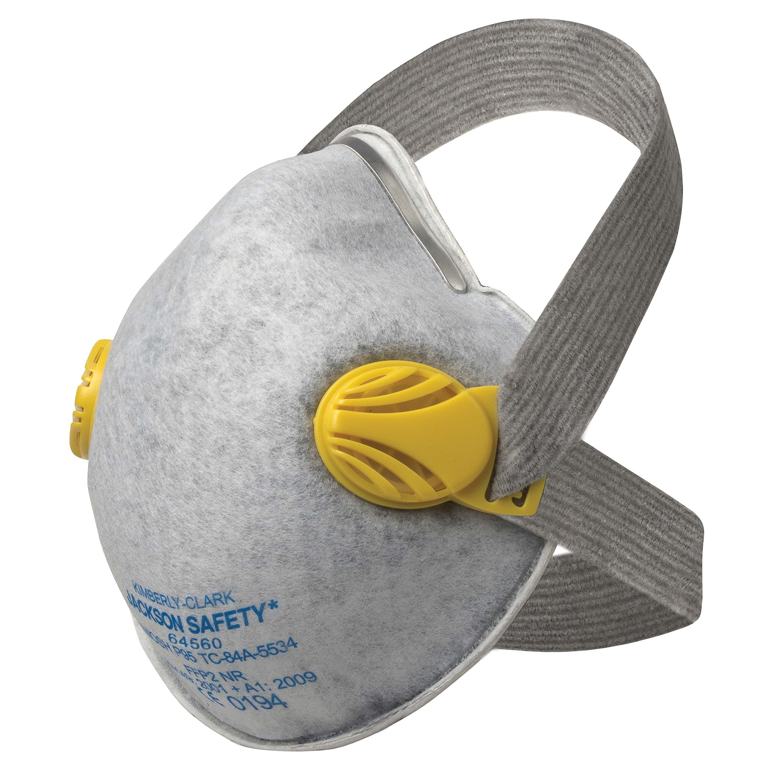 JACKSON SAFETY 64560 R20 Respirator with Nuisance Level Organic Vapor Relief, Comfort Straps and Dual Valves, 7'' Height, 10.25'' Length, 5.3'' Width, P95 Particulate, Adjustable (Pack of 80)