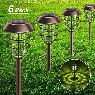 6 Pack Solar Pathway Lights Outdoor, KOOPER Rust Metal Solar Lights Outdoor Bright IP65 Waterproof, LED Solar Lights for Garden Patio Yard Walkway Decoration, Coffee Golden White Light