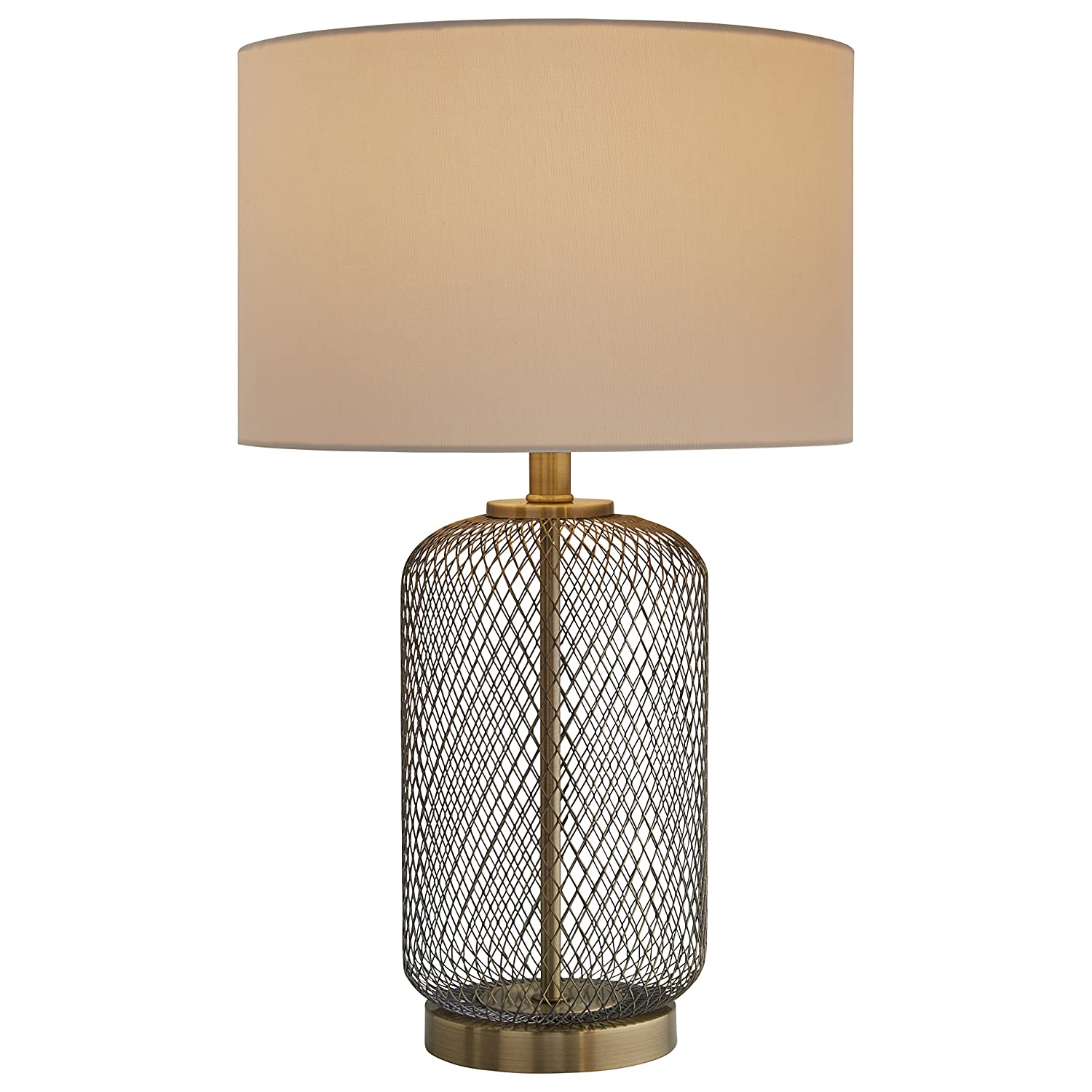 "Stone & Beam Modern Mesh Table Lamp 23""H Antique Brass with Linen Shade"
