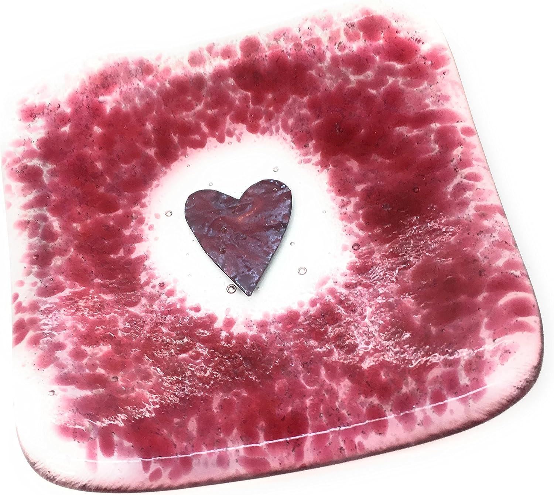 /Emballage cadeau gratuit inclus /Fait /à la main en East Sussex/ The Glass Garden Le verre de jardin Canneberge Rose Fusionn/é C/œur de verre Plat Bougie ou Photophore/