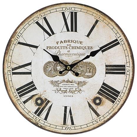 Perla PD Design, Orologio da parete, orologio da cucina, vintage design ca.  Ø 28 cm Diametro 28 cm, Legno, Fabrique