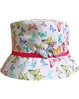 Girl's 3D Rainbow Butterfly Bucket Style Summer Sun Beach Hat
