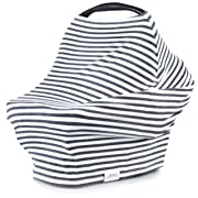5-in-1 Carseat Canopy & Nursing Cover by Matimati, Stretchy & Ultra Soft Breastfeeding, Car seat & Stroller, Shopping Cart Covers, Perfect Gift for Mom (Classic Stripe)