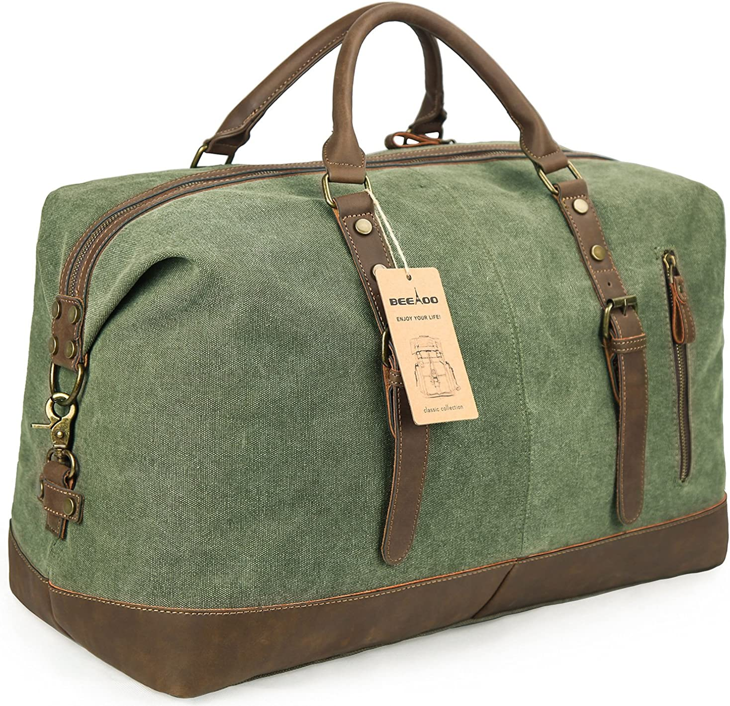 Beeaoo Canvas weekender Bag Leather Trim Duffel Bag Overnight Weekend Bag for Men and Women