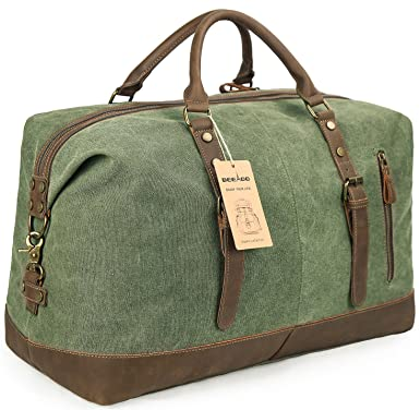Beeaoo Canvas weekender Bag Leather Trim Duffel Bag Overnight Weekend Bag  for Men and Women b4a1b74c81