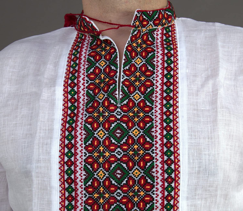 Vyshyvanka メンズ ウクライナ刺繍 ホワイトシャツ Bukovina ハンドメイド リネン スラビック ウェディングサイズ 4XL B074FSQLR9
