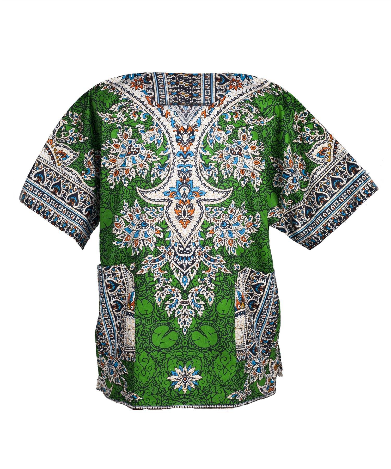 Lofbaz Traditional African Print Unisex Dashiki Ethnic Size XS Green by Lofbaz