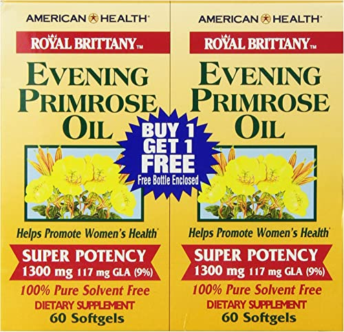 American Health Royal Brittany Evening Primrose Oil Softgels, 2 Pack - Promotes Women's Health - Nutritional Support for Women with PMS - Non-GMO, Gluten-Free, 1300 mg, 60 Count, 120 Total Servings
