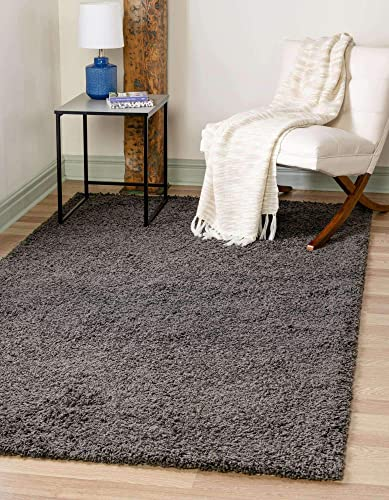 Unique Loom Solo Solid Shag Collection Modern Plush Graphite Gray Area Rug 6' 0 x 9' 0