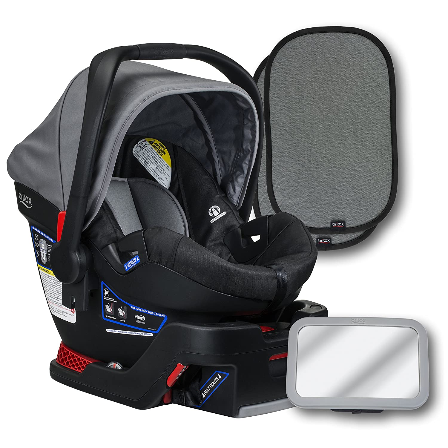 and 2 EZ-Cling Window Sun Shades Dove Britax B-Safe 35 Infant Car Seat Back Seat Mirror