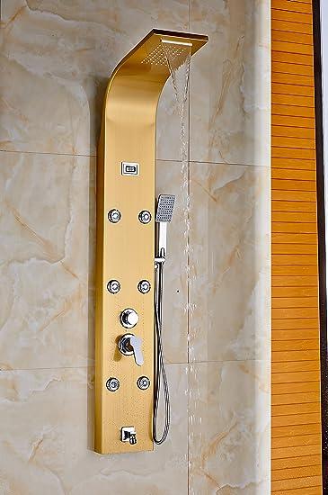 Rozin dorado pulido multifunción Panel de ducha columna de ducha ...