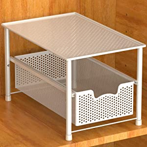 Simple Houseware Stackable Under Sink Cabinet Sliding Basket Organizer Drawer, White