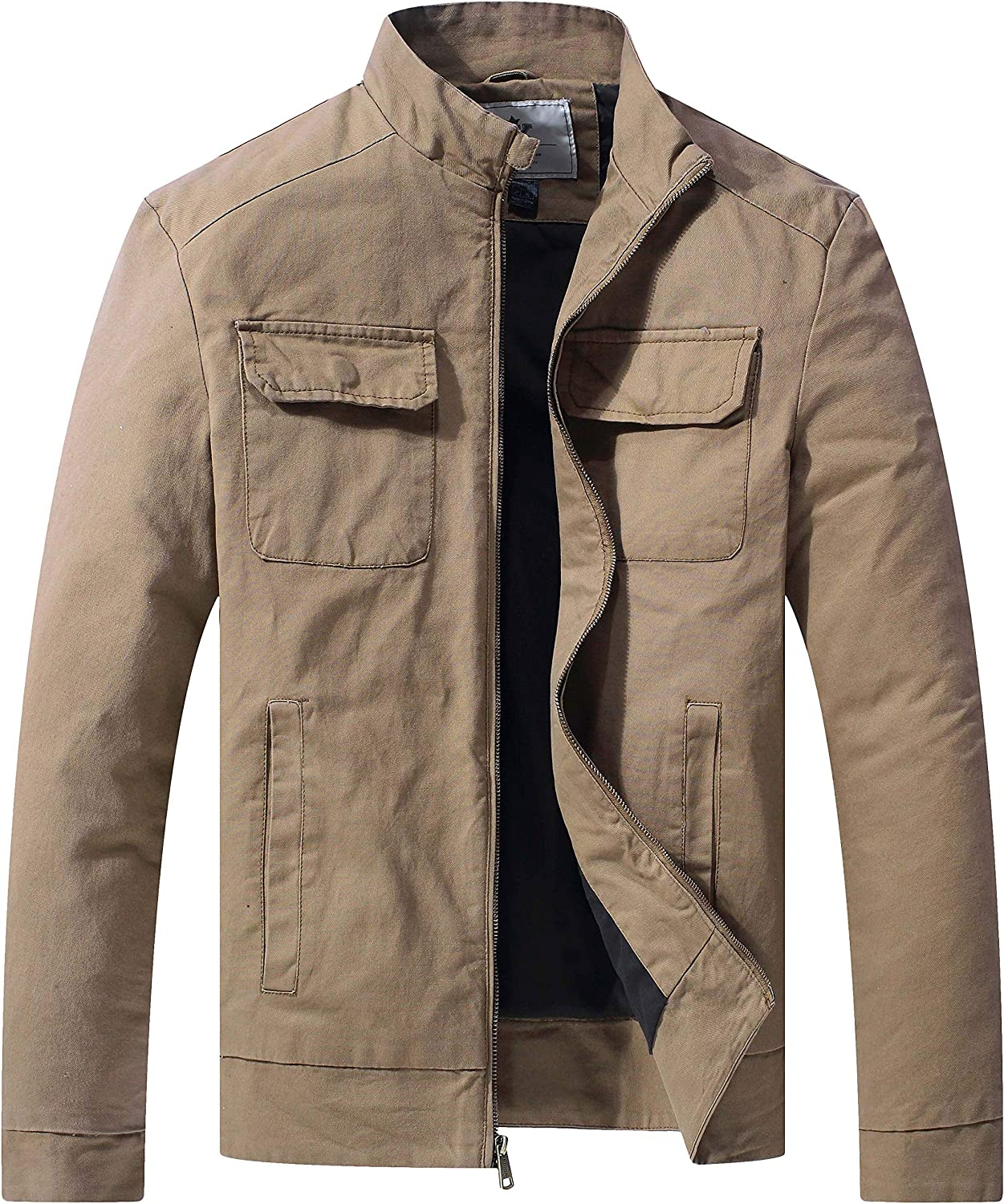 WenVen Mens Tactical Jacket Cotton Military Outwear