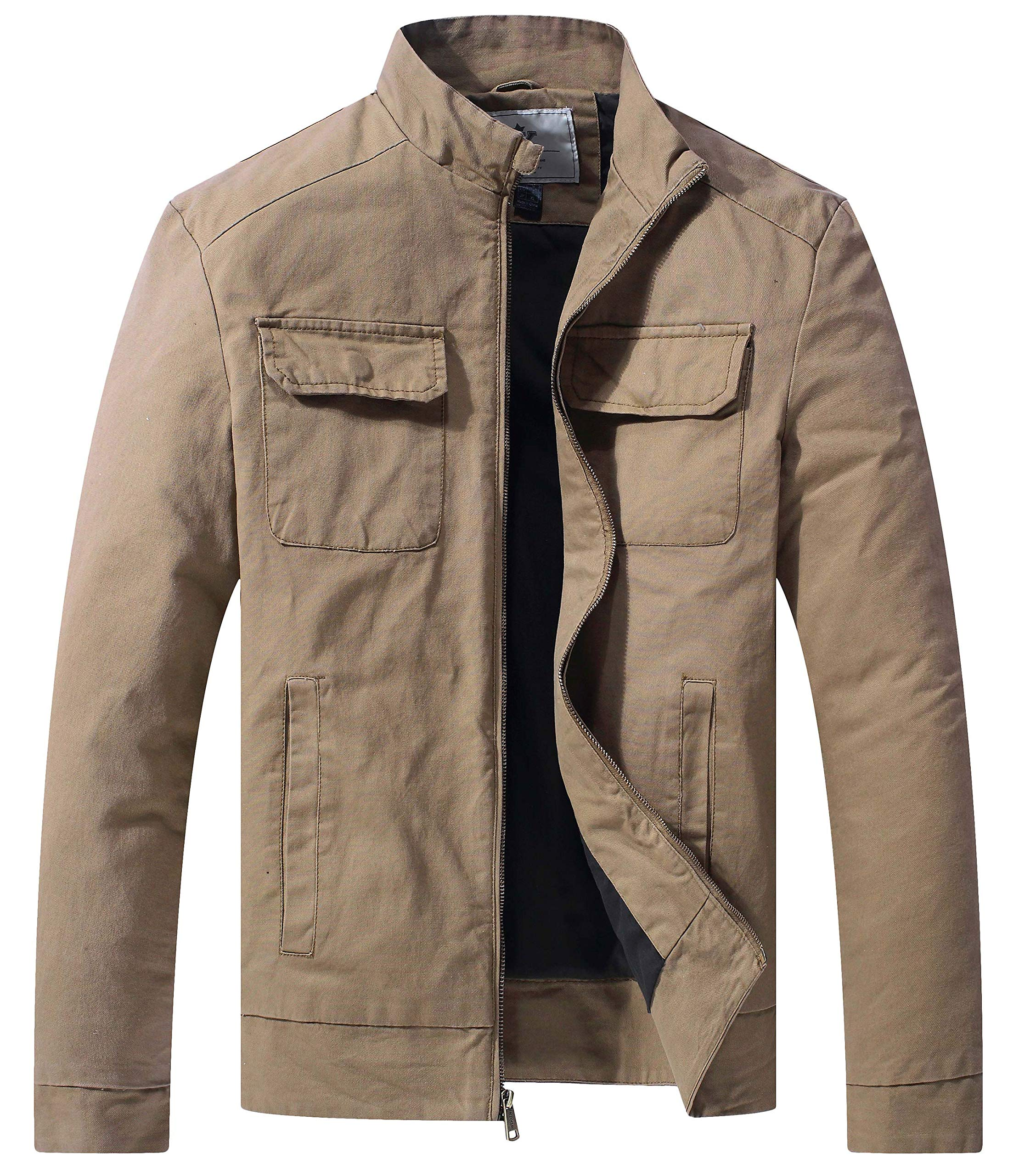 WenVen Men's Cotton Fall Casual Army Lightweight Jacket(Khaki,Medium) by WenVen