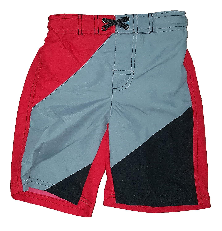 Ocean Pacific Boys Red Gray & Black Swim Short WBOB27708AXS
