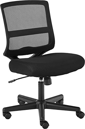 HON ValuTask Mid-Back Mesh Task Chair, Armless Black Mesh Computer Chair HVL206