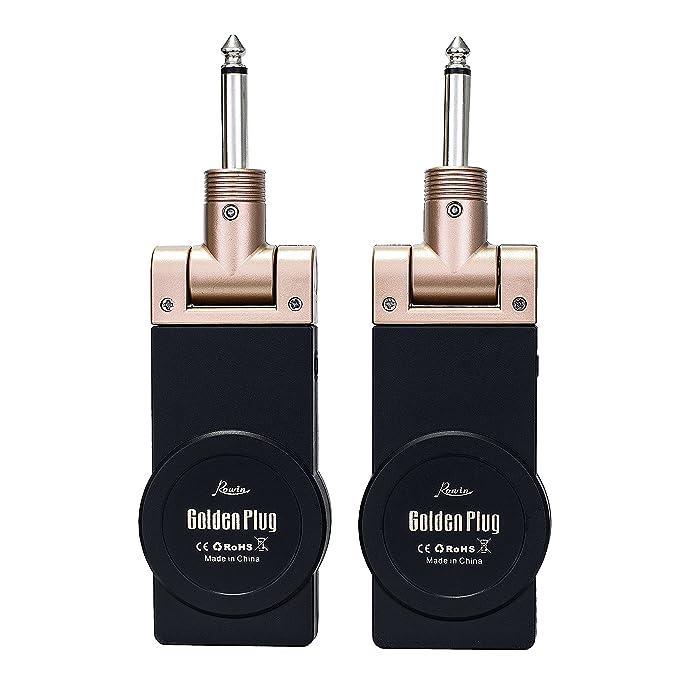 Rowin - Transmisor-receptor de guitarra inalámbrica de 2,4 G con 8 horas de autonomía (Golden Plug): Amazon.es: Instrumentos musicales