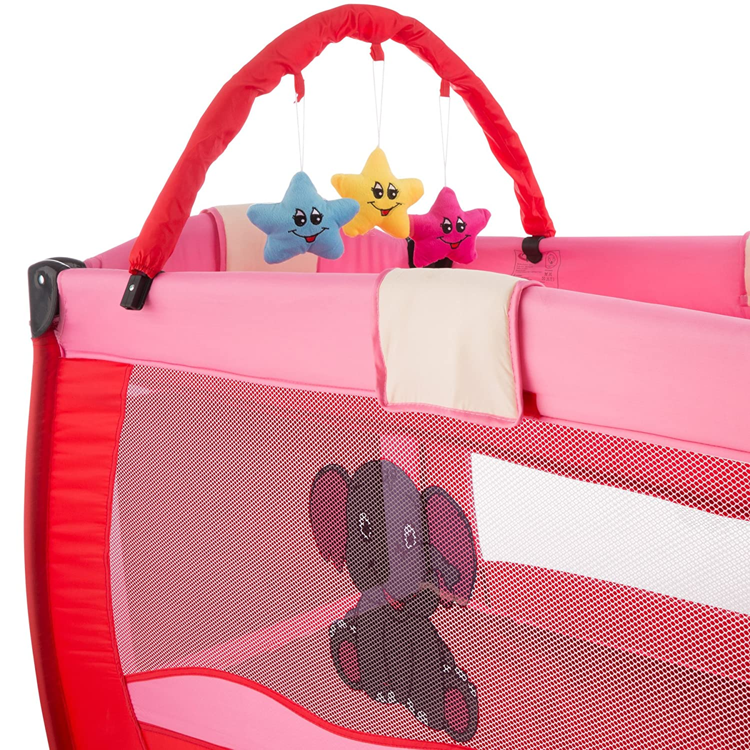 TecTake Portable Child Baby Travel Cot Bed Playpen with Entryway and Toys New